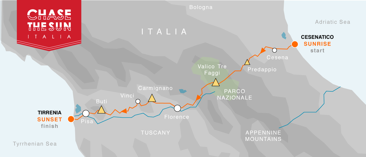 Route MAP for Italia Chase the Sun