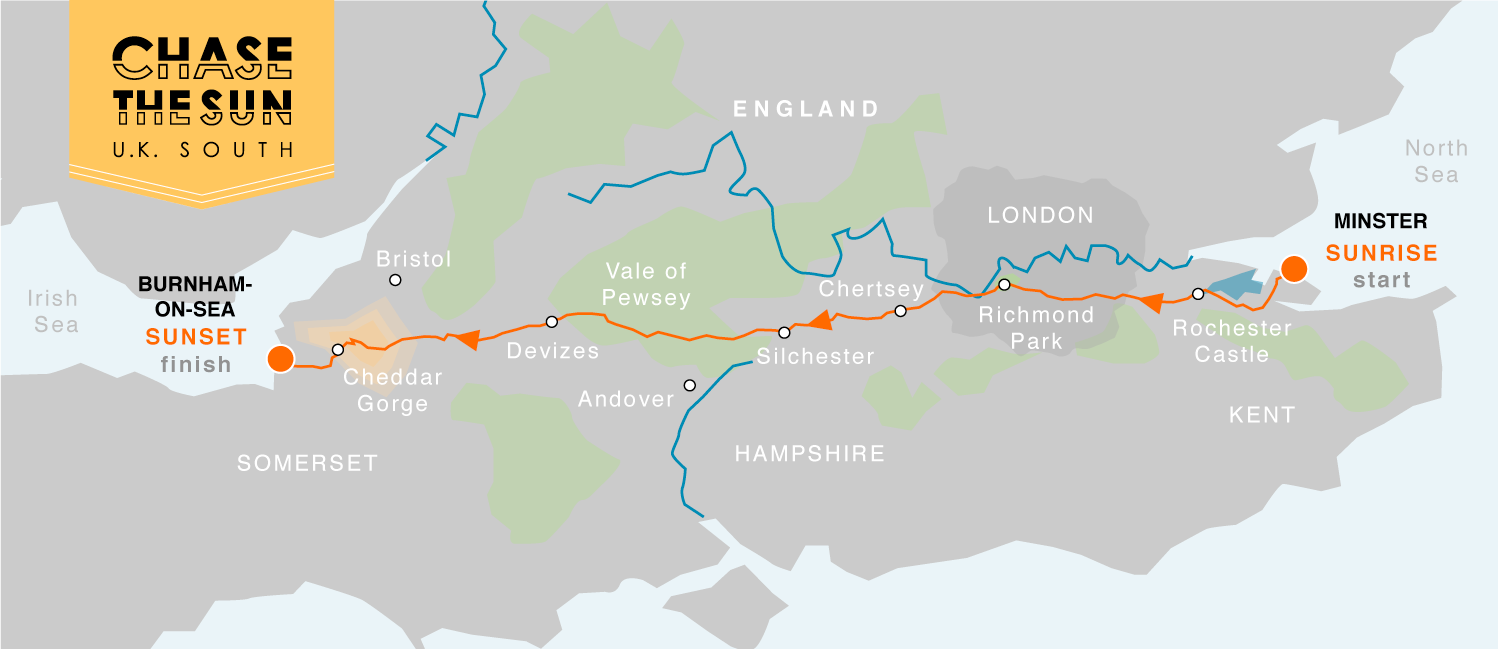Route MAP for UK South Chase the Sun
